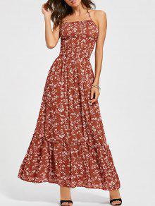 فستان الشمس رباط الظهر طباعة الازهار رسن ماكسي - أحمر L