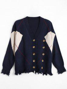 Plus Size Distressed Button Up Cardigan - Purplish Blue