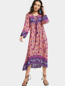 Long Sleeve Floral Tassels Midi Dress - Purple L