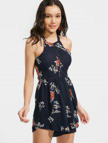 Bow Tied Cut Out Floral Romper - Purplish Blue S
