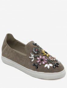 Slip On Suede Beading Flat Shoes - Khaki 37