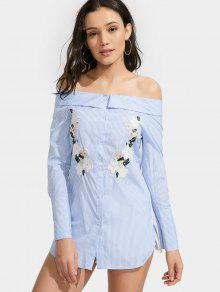Off Shoulder Floral Stripe Shirt Dress - Light Blue L