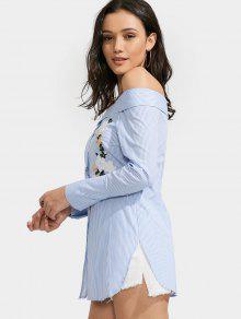 615fde0e78a 36% OFF  2019 Off Shoulder Floral Stripe Shirt Dress In LIGHT BLUE ...