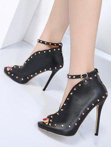... Studded Ankle Strap Peep Toe Pumps ...