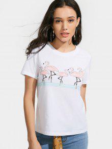 Camiseta Gráfica Del Pájaro Del Algodón - Blanco S