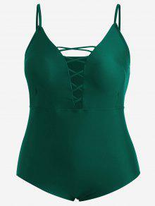 Plus Size Crisscross One Piece Swimsuit - Blackish Green 3xl