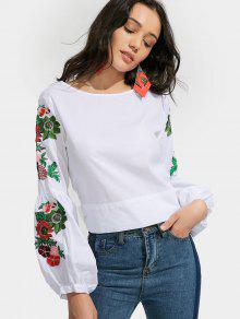 Bowknot Floral Embroidered Blouse - White S
