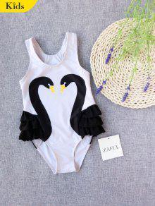 Swan Print Ruffles Kid Swimwear - White 8t
