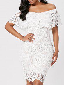 قبالة الكتف بوديكون فستان الدانتيل - أبيض L