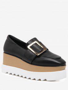 Square Toe Belt Buckle Wedge Shoes - Black 39