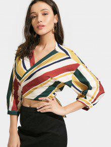Cropped Stripes Wrap Blouse - Stripe S