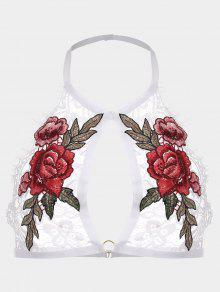 Flower Applique Lace Halter Bralette - White S