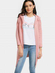 Hooded Open Front Cardigan With Pockets - Pink
