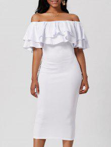 قبالة الكتف يندب اللباس بوديكون - أبيض L