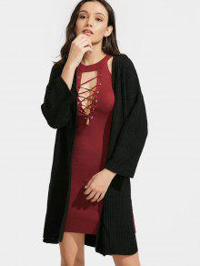 Buy Side Slit Longline Open Front Cardigan - BLACK ONE SIZE