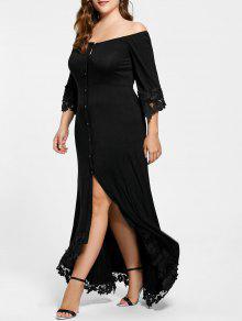 فستان دانتيل بلا اكتاف الحجم الكبير - أسود 4xl