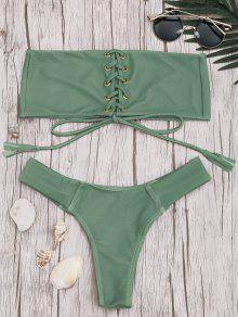 Bandeau Lace Up Bikini Set - Pea Green S