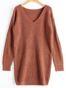 Oversized V Neck Chunky Sweater - Light Coffee