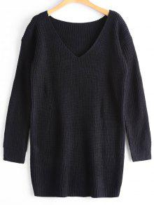 Oversized V Neck Chunky Sweater - Black