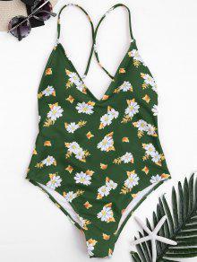 الأزهار عبر الظهر عالية قطع روتشد ملابس السباحة - أخضر S