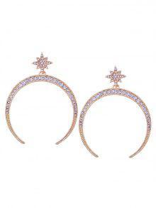 Statement Rhinestone Sun Moon Earrings - Golden