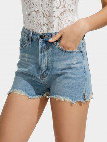 Ripped Cutoffs High Waisted Denim Shorts - Light Blue 28