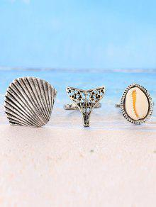 3 Pieces Sea Shell Rings - Silver