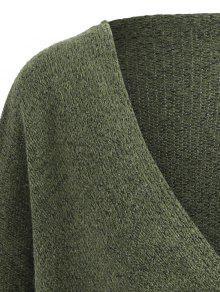 7638cca0fdd20 2019 Plus Size Surplice Drop Shoulder Sweater In ARMY GREEN ONE SIZE ...