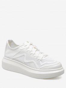 بو الجلود إدراج تنفس أحذية رياضية - أبيض 37