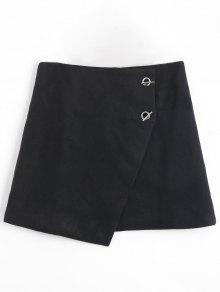 Grommet Button Plus Size Asymmetric Skirt - Black 3xl
