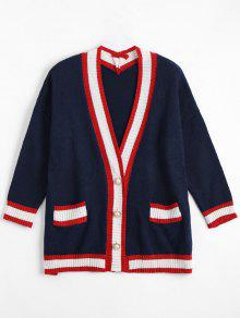 Plus Size Color Block Cardigan - Purplish Blue