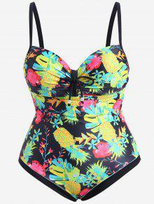 Underwire Pineapple Print Plus Size Swimsuit - Black Xl