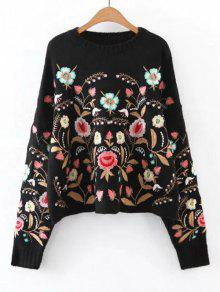 Oversized Floral Embroidered Sweater - Black L