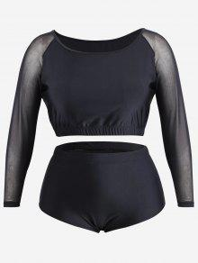 Plus Size Mesh Panel Rash Guard - Black 3xl
