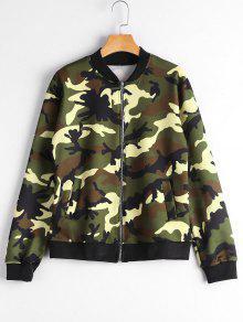 Zip Up Pockets Camouflage Jacket - Camouflage M