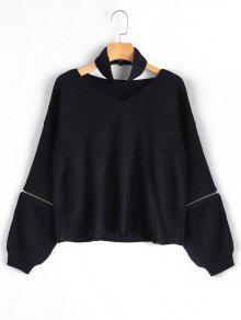 Zipper Sleeve Chunky Choker Sweater - Black