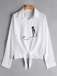 Tie Front Cat Embroidered Shirt - White L
