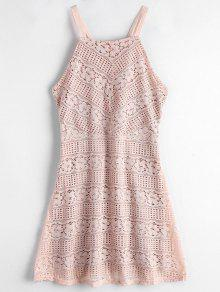 Double Layered Cami Lace Dress - Light Pink L