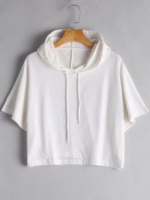 Drawstring Cropped Hoodie - White Xl