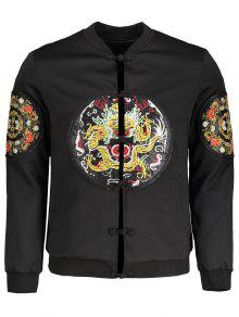 Embroidered Applique Bomber Jacket - Black 4xl