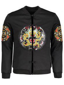 Embroidered Applique Bomber Jacket - Black 5xl