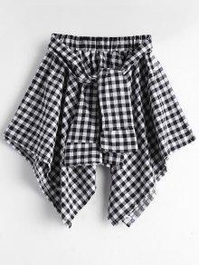 تنورة منقوشة غير متماثلة ربطة ذاتية - أسود