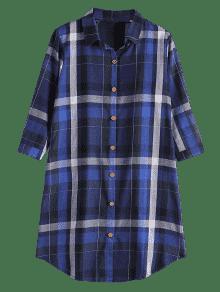 Camisa Bot Con 243;n La Largo Azul Zafiro De Bolsillos Verificado Xl De qCq1A