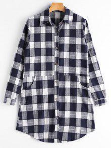 Button Up Pockets Checked Longline Shirt - Purplish Blue S
