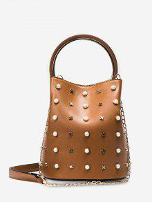 Chain Faux Pearls Bucket Bag - Brown