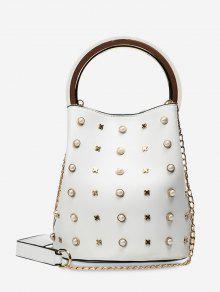 Chain Faux Pearls Bucket Bag - White