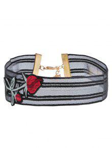 Yarn Flower Embroidery Choker Necklace - Black