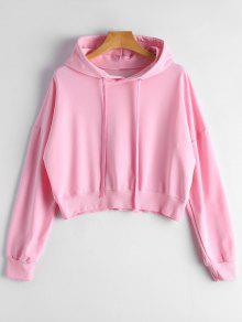 Drop Shoulder Drawstring Plain Hoodie - Pink