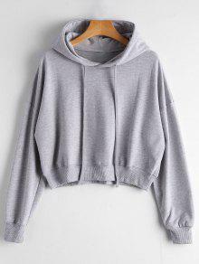 Drop Shoulder Drawstring Plain Hoodie - Gray
