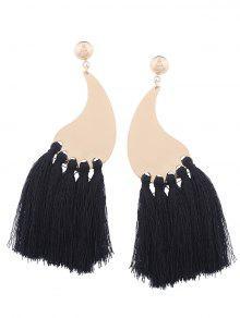 Statement Long Tassel Earrings - Black